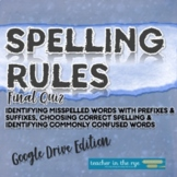 Spelling Rules Final Quiz Assessment Google Drive™ Distanc