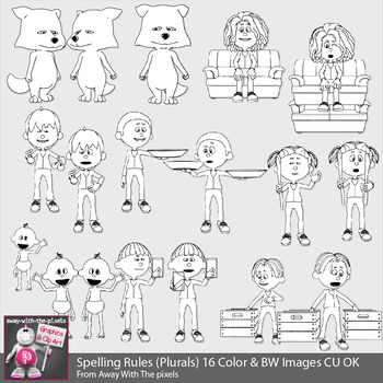Spelling Rules (Irregular Plural) Clipart -  16 Color & BW Images