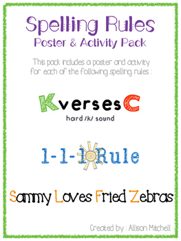 Spelling Rules (K vs. C; 1-1-1 Rule; Sammy Loves Fried Zeb