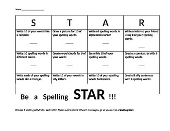 Spelling STAR Chart