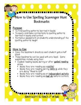 Spelling Scavenger Hunt Bookmarks: Applying Spelling Patterns to Books Read
