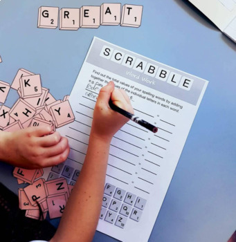 Spelling Scrabble Word Work and Scrabble Pieces Bundle