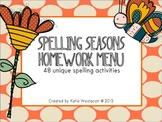 Spelling Seasons Homework Menu