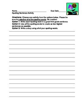 Spelling Sentence Activity