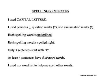 Spelling Sentence Rules