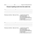 Spelling Sentence Template with Student Checklist