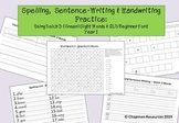 Spelling, Sentence Writing & Handwriting Practice, Year 1 - Dolch 3, Green Words