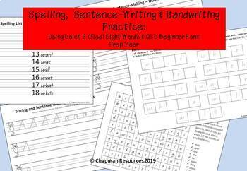 Spelling, Sentence Writing & Handwriting with Dolch 2 Red Words (Prep Year)