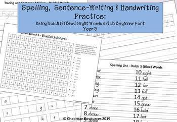 Spelling, Sentence Writing & Handwriting with Dolch 5 Blue Words (Year 3)