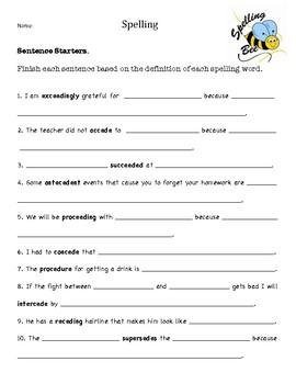 Spelling: Sentence starters