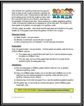 Spelling Shake Up - Three Games to Practice, Use and Apply New Spelling Words