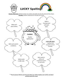Spelling Shamrocks Homework Sheet