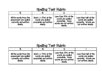 Spelling Sheet with 4-Point Rubric
