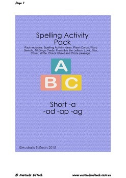 Spelling Short -a with -ad -ap -ag