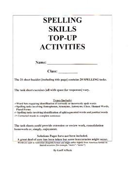 Spelling Skills Topup Activities