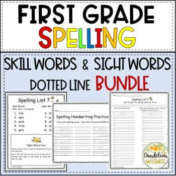 Spelling Skills with SIPPS BUNDLE - First Grade - Dotted Line Version