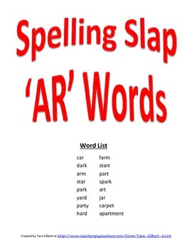 Spelling Slap Game for 'R' controlled vowels