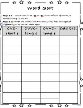 Spelling Sort Packet- Long and Short -e-