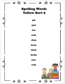 Spelling Sort Yellow 9 -  FREE