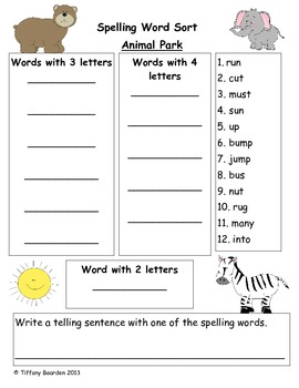 Spelling Sort for Animal Park (Scott Foresman Reading Street)