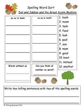 Spelling Sort for Dot & Jabber & the Great Acorn Mystery (Scott Foresman Rdg St)