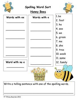 Spelling Sort for Honey Bees (Scott Foresman Reading Street)