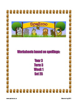 Spelling Spellzoo Year 3 Set 25 Worksheets