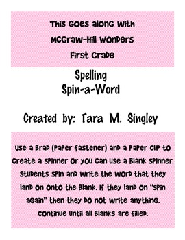 Spelling Spin-a-Word 1.3 McGraw Hill Wonders First Grade