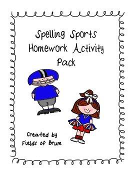 """Spelling Homework Activity Pack """"Spelling Sports"""""""