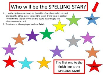 Spelling Star Game Board for Second Grade