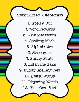Spelling Stations Centers for any Spelling List Worksheets Posters Included