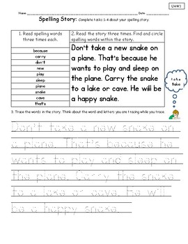 Spelling Stories-Unit 4 National Geographic Reach for Reading