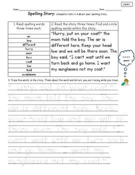 Spelling Stories-Unit 6 National Geographic Reach for Reading