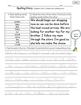 Spelling Stories Unit 8 National Geographic Reach for Reading