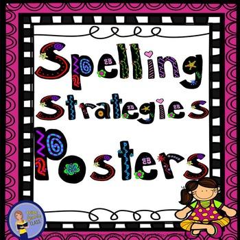 Spelling Strategies Posters Pink Frame