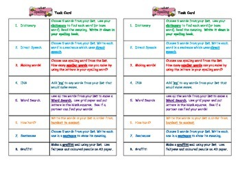 Spelling Task Card Independent Learning