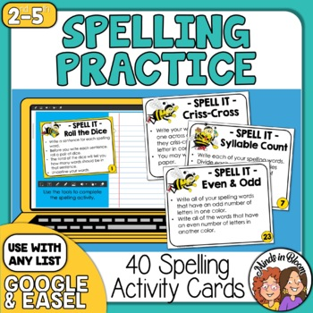 Spelling Task Cards: 40 Activity Cards for Any List!