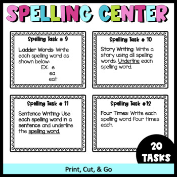 Spelling Task Cards- Literacy Centers (20 Task Cards & Worksheets)