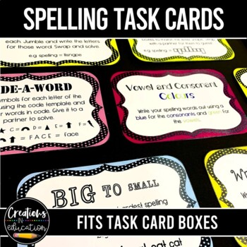 Spelling Task Cards No Prep Literacy Center Activity