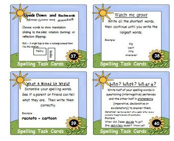 Spelling Task Cards - Open ended for any list