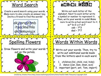 Spelling Task Cards (Perfect for Word Work/Speller's Choice) 28 Activities!