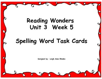 Spelling Task Cards- Plural Nouns (Wonders Reading Grade F
