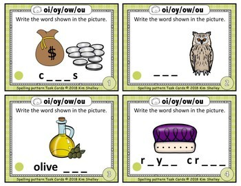 Spelling Task Cards Set 15 Oi Oy Ow Ou