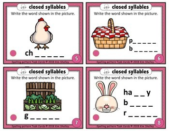 Spelling Task Cards Set 23 Closed Syllables