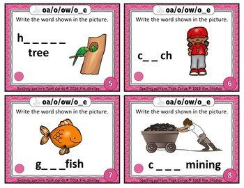 Spelling Task Cards Set 4 Long O