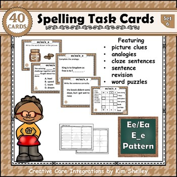 Spelling Task Cards Set 6 Ee Ea E_e