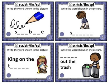 Spelling Task Cards Set 8 Scr Str Thr Spl