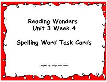 Spelling Task Cards  Wonders Reading 4th Grade Unit 3 Week