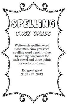 Spelling Task Cards and Activities - Works with ANY Spelling List