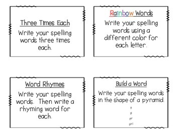 Spelling Task Cards and Homework Menu